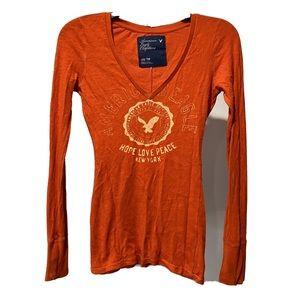 American Eagle Hope Love Peace long sleeve orange